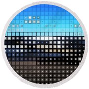 Round Beach Towel featuring the digital art Glass Block Shore by Shawna Rowe