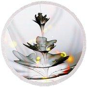 Round Beach Towel featuring the mixed media Glass Flower by Anastasiya Malakhova