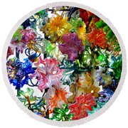 Glass Flower Garden In The French Quarter Of New Orleans Louisiana Round Beach Towel by Michael Hoard