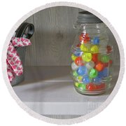 Round Beach Towel featuring the photograph Glass Marbles From Childhood by Nancy Lee Moran