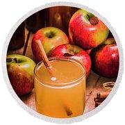 Glass Of Fresh Apple Cider Round Beach Towel