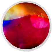 Glass Paint Abstract Dark Round Beach Towel