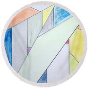 Round Beach Towel featuring the mixed media Glass-scrapers by J R Seymour