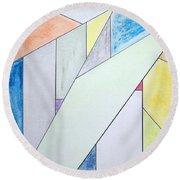 Glass-scrapers Round Beach Towel