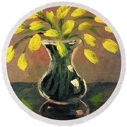 Glass Vase And Yellow Flowers Round Beach Towel