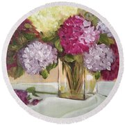Round Beach Towel featuring the painting Glass Vase by Sharon Schultz