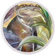 Glasses Grapes And Plants Round Beach Towel