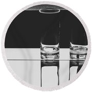 Glasses On A Table Bw Round Beach Towel