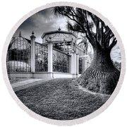 Glasshouse And Tree Round Beach Towel by Wayne Sherriff