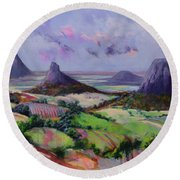 Glasshouse Mountains Dreaming Round Beach Towel