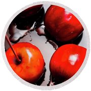 Gleaming Red Candy Apples Round Beach Towel