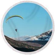 Glen Alps Paragliding Round Beach Towel