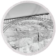 Glen Canyon Bridge Bw Round Beach Towel