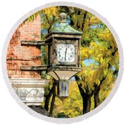 Round Beach Towel featuring the painting Glen Ellyn Corner Clock by Christopher Arndt