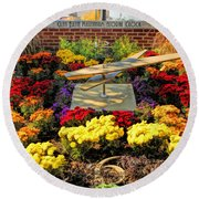 Round Beach Towel featuring the painting Glen Ellyn Millennium Flower Clock by Christopher Arndt