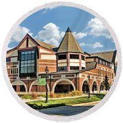 Round Beach Towel featuring the painting Glen Ellyn Public Library by Christopher Arndt
