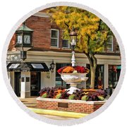 Round Beach Towel featuring the painting Glen Ellyn Watering Fountain by Christopher Arndt