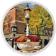 Round Beach Towel featuring the painting Glen Ellyn Watering Trough by Christopher Arndt