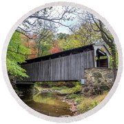 Glen Hope Covered Brige During Autumn Round Beach Towel