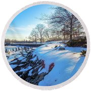 Glen Island Snowfall Round Beach Towel