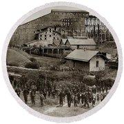 Glen Lyon Pa Susquehanna Coal Co Breaker Late 1800s Round Beach Towel