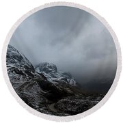 Round Beach Towel featuring the digital art Glencoe - Three Sisters by Pat Speirs