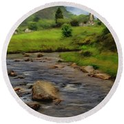 Round Beach Towel featuring the painting Glendalough In The Distance by Jeff Kolker
