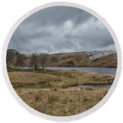 Round Beach Towel featuring the photograph Glendevon Reservoir In Scotland by Jeremy Lavender Photography