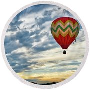 Gliding Through Sunset Round Beach Towel