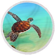 Gliding Through The Sea Round Beach Towel
