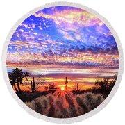Glimmering Skies Round Beach Towel