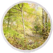 Glimpse Of A Stream In Autumn Round Beach Towel