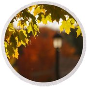 Round Beach Towel featuring the photograph Glimpse Of Autumn by Aimelle