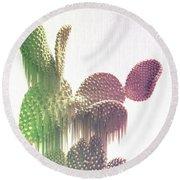 Glitch Cactus Round Beach Towel