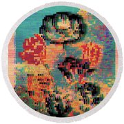 Round Beach Towel featuring the digital art Glitched Tulips by Bee-Bee Deigner