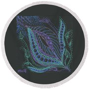 Glitter Flower Round Beach Towel