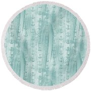 Glittery Mint Anchors Round Beach Towel