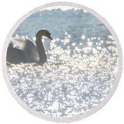 Glitz And Glamory Swan Round Beach Towel