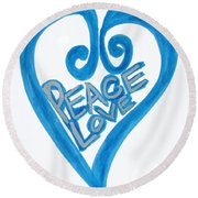 Global Peace And Love Heart Round Beach Towel