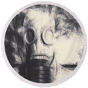 Vintage Gas Mask Terror Round Beach Towel