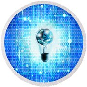 Globe And Light Bulb With Technology Background Round Beach Towel