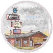 Globetrotter Lodge In Route 66, Holbrook, Arizona Round Beach Towel