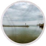 Gloom On The Bay Round Beach Towel