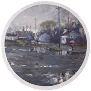 Gloomy And Rainy Day By Hyde Park Round Beach Towel by Ylli Haruni