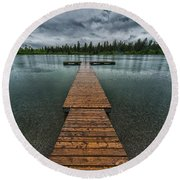 Round Beach Towel featuring the photograph Gloomy Rainy Day On Norbury Lake by Darcy Michaelchuk