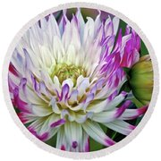 Glorious Dahlia Round Beach Towel