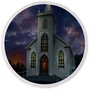 Glorious Night Church Round Beach Towel
