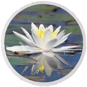 Glorious White Water Lily Round Beach Towel