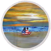 Round Beach Towel featuring the painting Glory by Barbara Hayes
