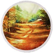 Round Beach Towel featuring the painting Glory Road In Autumn by Al Brown